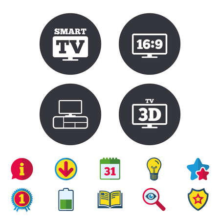 led: Smart TV mode icon. Aspect ratio 16:9 widescreen symbol. 3D Television and TV table signs. Calendar, Information and Download signs. Stars, Award and Book icons. Light bulb, Shield and Search. Vector