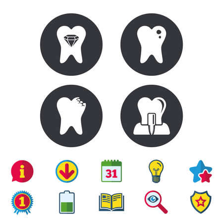 Dental care icons. Caries tooth sign. Tooth endosseous implant symbol. Tooth crystal jewellery. Calendar, Information and Download signs. Stars, Award and Book icons. Light bulb, Shield and Search