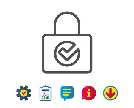 Lock with Check line icon. Private locker sign. Password encryption symbol. Report, Service and Information line signs. Download, Speech bubble icons. Editable stroke. Vector Illustration
