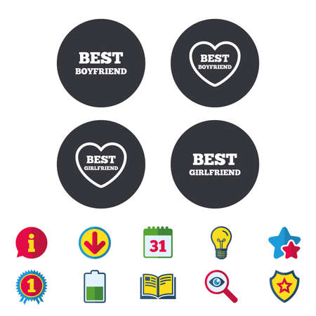 best book: Best boyfriend and girlfriend icons. Heart love signs. Award symbol. Calendar, Information and Download signs. Stars, Award and Book icons. Light bulb, Shield and Search. Vector