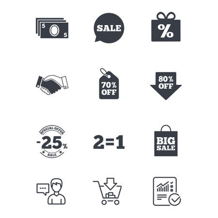 seventy: Sale discounts icon. Shopping, handshake and cash money signs. 25, 70 and 80 percent off. Special offer symbols. Customer service, Shopping cart and Report line signs. Online shopping and Statistics