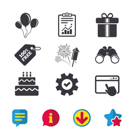Birthday party icons. Cake and gift box signs. Air balloons and fireworks symbol. Browser window, Report and Service signs. Binoculars, Information and Download icons. Stars and Chat. Vector Illustration
