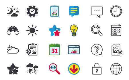 bad service: Weather icons. Moon and stars night. Cloud and sun signs. Storm or thunderstorm with lightning symbol. Chat, Report and Calendar signs. Stars, Statistics and Download icons. Question, Clock and Globe Illustration