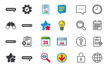 Register with hand pointer icon. Mouse cursor symbol. Membership sign. Chat, Report and Calendar signs. Stars, Statistics and Download icons. Question, Clock and Globe. Vector Illustration