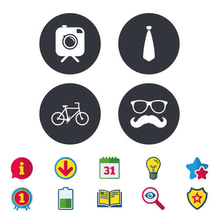 Hipster photo camera with mustache icon. Glasses and tie symbols. Bicycle family vehicle sign. Calendar, Information and Download signs. Stars, Award and Book icons. Light bulb, Shield and Search