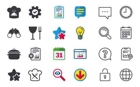 Chief hat and cooking pan icons. Crosswise fork and knife signs. Boil or stew food symbols. Chat, Report and Calendar signs. Stars, Statistics and Download icons. Question, Clock and Globe. Vector Illustration