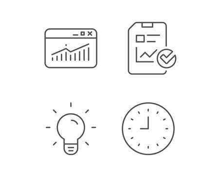 Report file, Lamp and Browser window line icons. Clock or Time sign. Quality design elements. Editable stroke. Vector Illusztráció