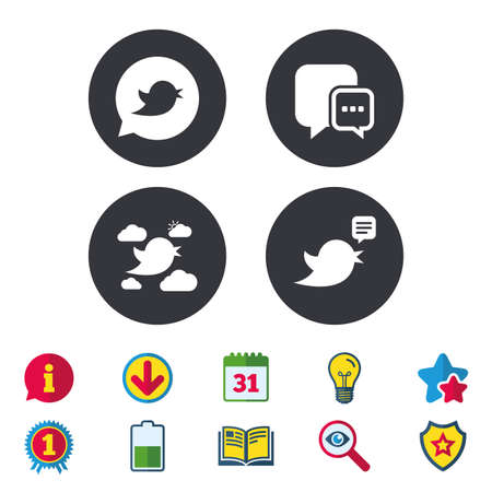Birds icons. Social media speech bubble. Short messages chat symbol. Calendar, Information and Download signs. Stars, Award and Book icons. Light bulb, Shield and Search. Vector
