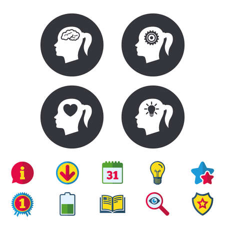 Head with brain and idea lamp bulb icons. Female woman think symbols. Cogwheel gears signs. Love heart. Calendar, Information and Download signs. Stars, Award and Book icons. Vector 向量圖像