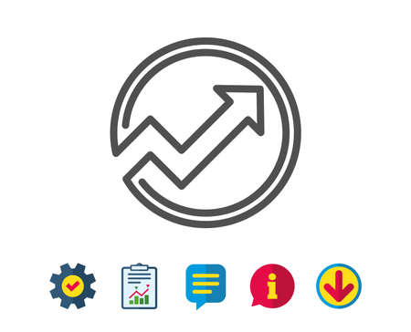 Chart line icon. Report graph or Sales growth sign in circle. Analysis and Statistics data symbol. Report, Service and Information line signs. Download, Speech bubble icons. Editable stroke. Vector 向量圖像