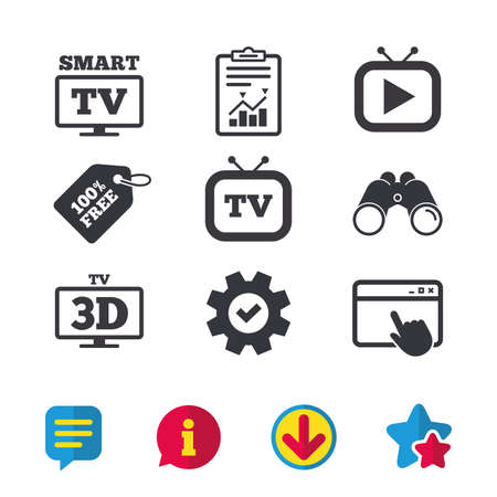 led: Smart 3D TV mode icon. Widescreen symbol. Retro television and TV table signs. Browser window, Report and Service signs. Binoculars, Information and Download icons. Stars and Chat. Vector