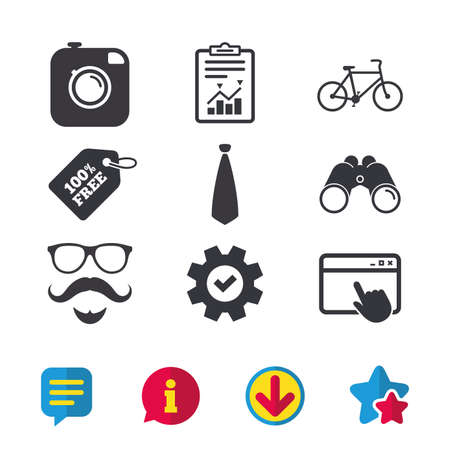 Hipster photo camera. Mustache with beard icon. Glasses and tie symbols. Bicycle sign. Browser window, Report and Service signs. Binoculars, Information and Download icons. Stars and Chat. Vector Illustration