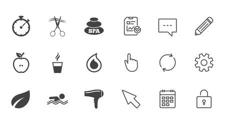 Spa, hairdressing icons. Swimming pool sign. Water drop, scissors and hairdryer symbols. Chat, Report and Calendar line signs. Service, Pencil and Locker icons. Click, Rotation and Cursor. Vector Illustration