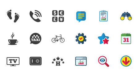 Hotel, apartment services icons. Coffee sign. Phone call, kid-friendly and safe strongbox symbols. Calendar, Report and Download signs. Stars, Service and Search icons. Statistics, Binoculars and Chat