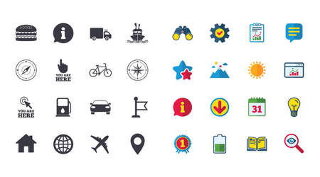 compass rose: Set of Navigation and Gps icons. Windrose, Compass and Burger signs. Bicycle, Ship and Car symbols. Location pointer and flag. Calendar, Report and Browser window signs. Vector