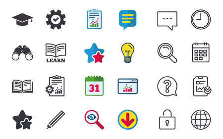 Pencil and open book icons. Graduation cap symbol. Higher education learn signs. Chat, Report and Calendar signs. Stars, Statistics and Download icons. Question, Clock and Globe. Vector Ilustração