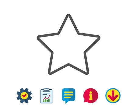 Star line icon. Best rank sign. Bookmark or Favorite symbol. Report, Service and Information line signs. Download, Speech bubble icons. Editable stroke. Vector