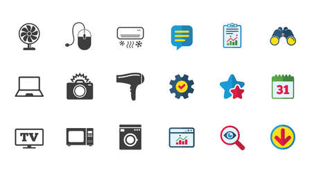 Home appliances, device icons. Electronics signs. Air conditioning, washing machine and ventilator symbols. Calendar, Report and Download signs. Stars, Service and Search icons. Vector