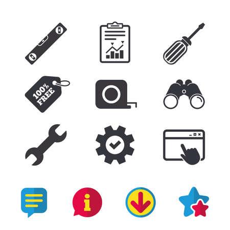 Schraubendreher- und Schlüsselschlüsselwerkzeugikonen. Wasserwaage und Maßband Roulette Zeichen Symbole. Browserfenster, Bericht und Dienstzeichen. Ferngläser, Informations- und Download-Symbole. Sterne und Chat. Vektor Standard-Bild - 81773709