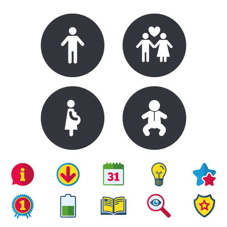 complete: Family lifetime icons. Couple love, pregnancy and birth of a child symbols. Human male person sign. Calendar, Information and Download signs. Stars, Award and Book icons. Light bulb, Shield and Search Illustration