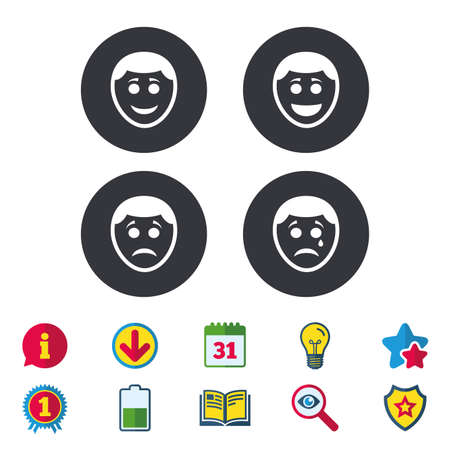 Human smile face icons. Happy, sad, cry signs. Happy smiley chat symbol. Sadness depression and crying signs. Calendar, Information and Download signs. Stars, Award and Book icons. Vector Illusztráció