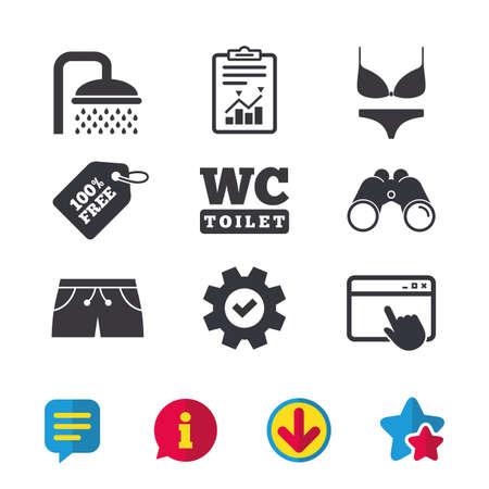 スイミング プールのアイコン。シャワーの水滴と水着のシンボル。トイレ トイレのサイン。トランクと女性下着。ブラウザー ウィンドウ、レポー  イラスト・ベクター素材