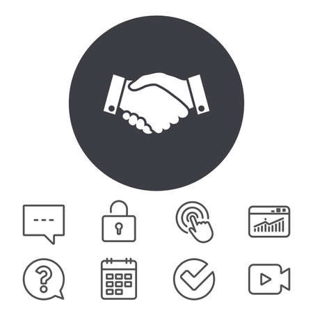 Handshake sign icon. Successful business symbol. Calendar, Locker and Speech bubble line signs. Video camera, Statistics and Question icons. Vector