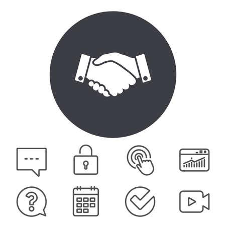 Handshake Zeichen Symbol. Erfolgreiches Geschäftssymbol. Kalender, Locker und Speech Bubble Line Zeichen. Videokamera, Statistiken und Frage Symbole. Vektor Standard-Bild - 81864549