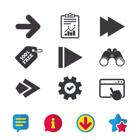 Arrow icons. Next navigation arrowhead signs. Direction symbols. Browser window, Report and Service signs. Binoculars, Information and Download icons. Stars and Chat. Vector Ilustracja