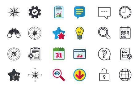 Icone di navigazione di Windrose. Simboli di bussola. Segno del sistema di coordinate. Messaggi di chat, di report e di calendario. Stelle, statistiche e download di icone. Domanda, orologio e globo. Vettore
