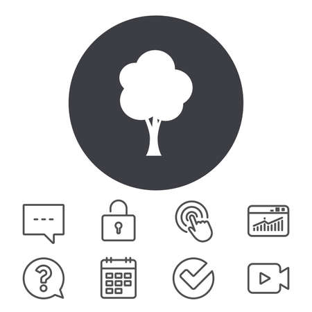 Tree sign icon. Forest symbol. Calendar, Locker and Speech bubble line signs. Video camera, Statistics and Question icons. Vector