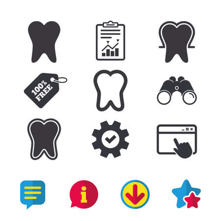 odontology: Tooth enamel protection icons. Dental care signs. Healthy teeth symbols. Browser window, Report and Service signs. Binoculars, Information and Download icons. Stars and Chat. Vector