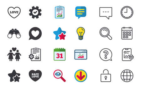 Lesbians couple sign, speech bubble with heart icon, female love female, heart symbol, chat, report and calendar signs. Stars, Statistics and Download icons, question, clock and globe vector Illustration