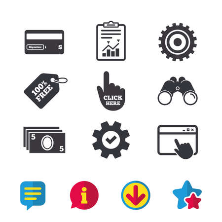 ATM cash machine withdrawal icons. Insert bank card, click here and check PIN, processing and get cash symbols. Browser window, Report and Service signs. Binoculars, Information and Download icons