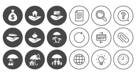 Insurance icons. Life, Real estate and House signs. Money bag, family and travel symbols. Document, Globe and Clock line signs. Lamp, Magnifier and Paper clip icons. Question, Credit card and Refresh Illustration