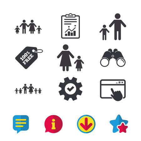 Large family with children icon. Parents and kids symbols. One-parent family signs. Mother and father divorce. Browser window, Report and Service signs. Binoculars, Information and Download icons Illustration