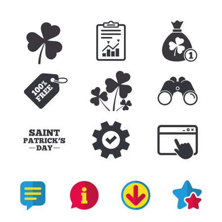 Saint Patrick day icons. Money bag with clover and coin sign. Trefoil shamrock clover. Symbol of good luck. Browser window, Report and Service signs. Binoculars, Information and Download icons Illustration