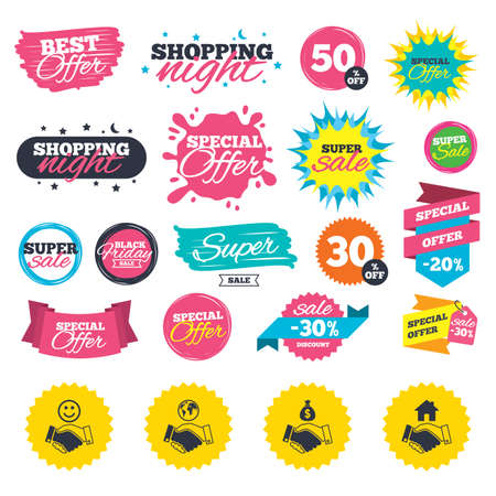 Sale shopping banners. Handshake icons. World, Smile happy face and house building symbol. Dollar cash money bag. Amicable agreement. Web badges, splash and stickers. Best offer. Vector