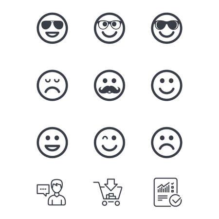 笑顔のアイコン。幸せ、悲しい、ウインク印に直面しています。サングラス、口ひげ、笑絵文字シンボルを笑っています。顧客サービス、ショッピ  イラスト・ベクター素材
