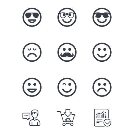 Smile icons. Happy, sad and wink faces signs. Sunglasses, mustache and laughing lol smiley symbols. Customer service, Shopping cart and Report line signs. Online shopping and Statistics. Vector Ilustração