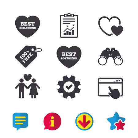 Valentine day love icons. Best girlfriend and boyfriend symbol. Couple lovers sign. Browser window, Report and Service signs. Binoculars, Information and Download icons. Stars and Chat. Vector Illusztráció