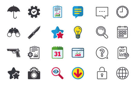 Gun weapon icon.Knife, umbrella and photo camera with flash signs. Edged hunting equipment. Prohibition objects. Chat, Report and Calendar signs. Stars, Statistics and Download icons. Vector