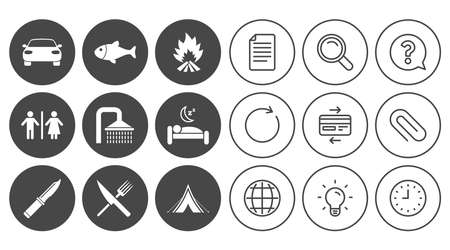Hiking travel icons. Camping, shower and wc toilet signs. Tourist tent, fork and knife symbols. Document, Globe and Clock line signs. Lamp, Magnifier and Paper clip icons. Vector Illustration