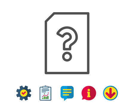 Unknown Document line icon. File with Question mark sign. Untitled Paper page concept symbol. Report, Service and Information line signs. Download, Speech bubble icons. Editable stroke. Vector Векторная Иллюстрация