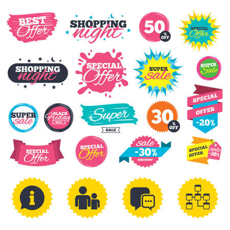 Sale shopping banners. Information sign. Group of people and database symbols. Chat speech bubbles sign. Communication icons. Web badges, splash and stickers. Best offer. Vector