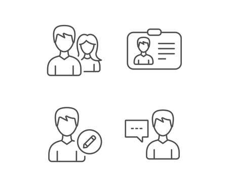 Male and Female, Edit Profile and ID card line icons. Talk sign. Quality design elements. Editable stroke. Vector