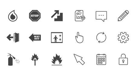 Brandveiligheid, noodpictogrammen. Brandblusser, uitgang en stopborden. Symbolen voor lift, waterdruppel en lucifer. Chat, rapport en kalender lijntekens. Service-, potlood- en kastpictogrammen. Vector