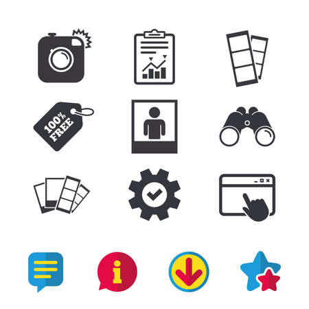 Hipster photo camera icon. Flash light symbol. Photo booth strips sign. Human portrait photo frame. Browser window, Report and Service signs. Binoculars, Information and Download icons. Stars and Chat Illustration