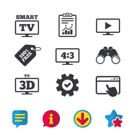 스마트 TV 모드 아이콘. 종횡비 4 : 3 와이드 스크린 기호. 3D 텔레비전 기호입니다. 브라우저 창, 보고서 및 서비스 표지판. 쌍안경, 정보 및 다운로드 아