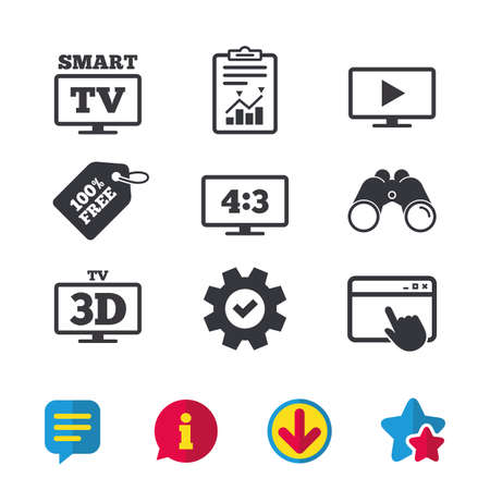 Smart TV mode icon. Aspect ratio 4:3 widescreen symbol. 3D Television sign. Browser window, Report and Service signs. Binoculars, Information and Download icons. Stars and Chat. Vector